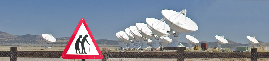 Photograph of radio-telescopes in a desert