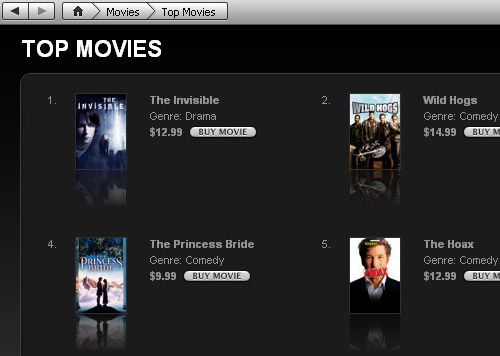 Screenshot iTunes Store Top Movies Section